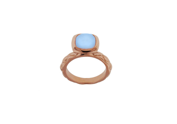 Sterling Silver Rose Gold Plated Square Blue Opaque Crystal  Patterned Stacking Ring