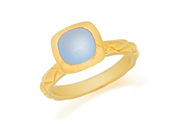 Sterling Silver Yellow Gold Plated Square Blue Opaque Crystal  Patterned Stacking Ring