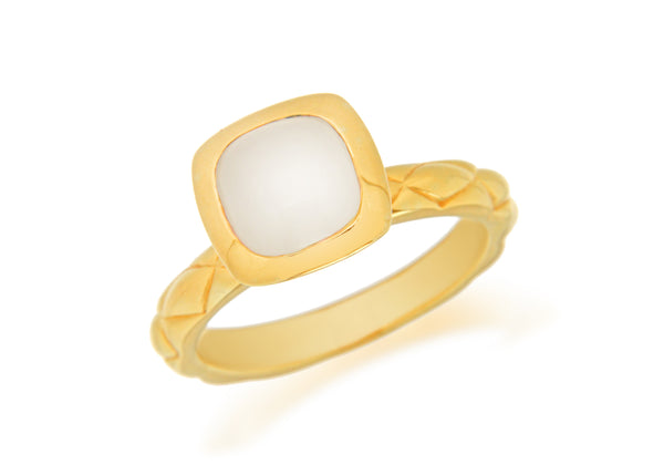 Sterling Silver Yellow Gold Plated Square White Opaque Crystal  Patterned Stacking Ring