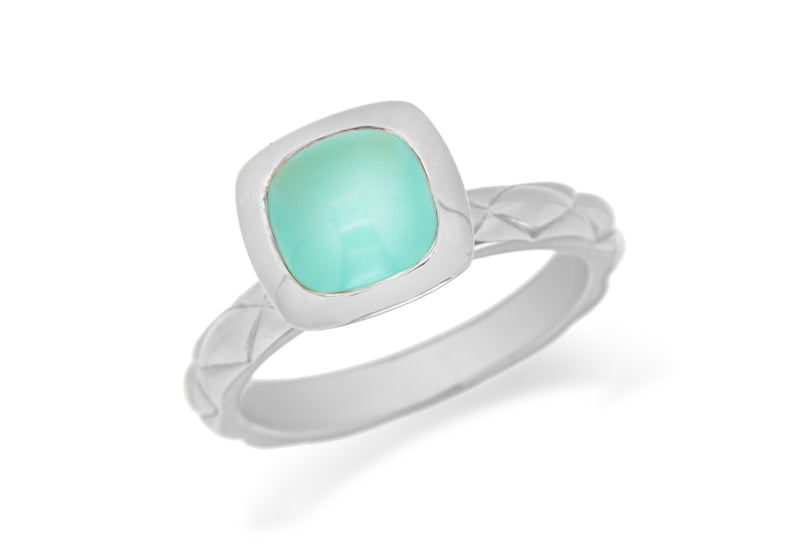 Sterling Silver Rhodium Plated Square Turquoise Opaque Crystal  Patterned Stacking Ring