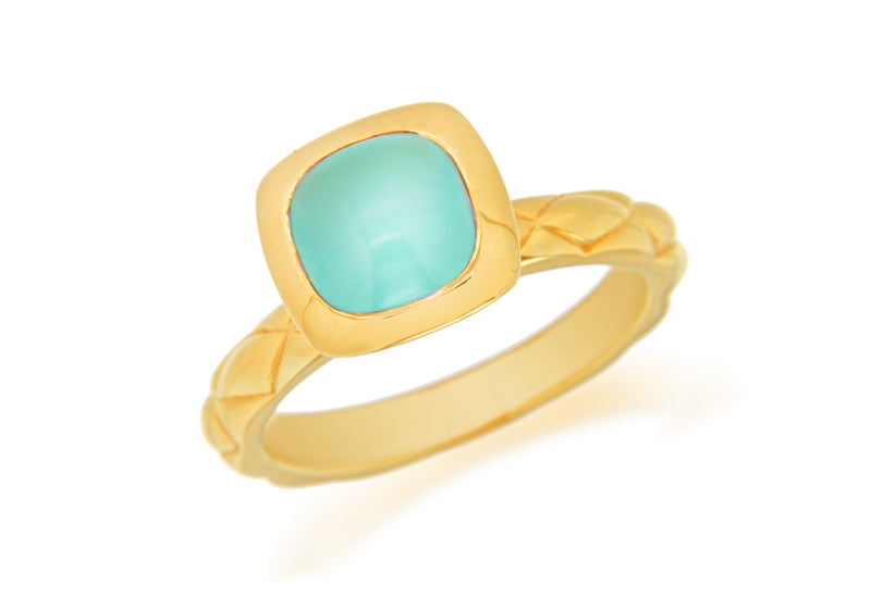 Sterling Silver Rose Gold Plated Square Turquoise Opaque Crystal  Patterned Stacking Ring