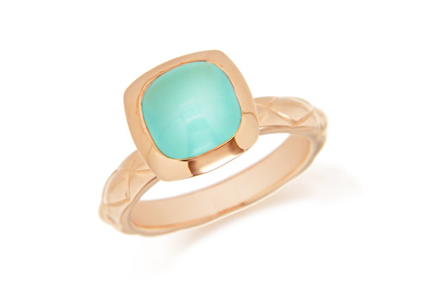 Sterling Silver Yellow Gold Plated Square Turquoise Opaque Crystal  Patterned Stacking Ring