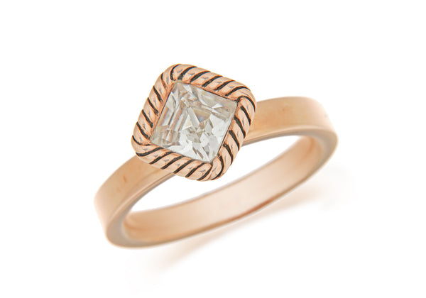Sterling Silver Rose Gold Plated Diamond Shaped White Crystal Stacking Ring