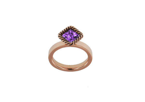 Sterling Silver Rose Gold Plated Diamond Shaped Purple Crystal Stacking Ring