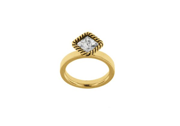 Sterling Silver Yellow Gold Plated Diamond Shaped White Crystal Stacking Ring