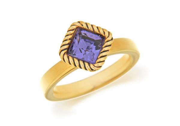 Sterling Silver Yellow Gold Plated Diamond Shaped Purple Crystal Stacking Ring