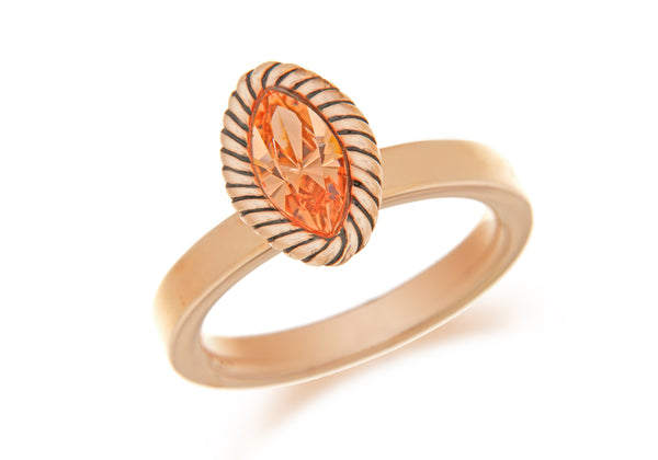 Sterling Silver Rose Gold Plated Elliptic Peah Crystal Stacking Ring