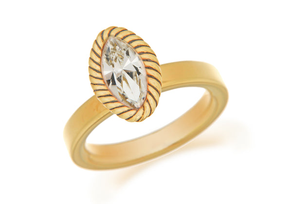 Sterling Silver Yellow Gold Plated Elliptic White Crystal Stacking Ring