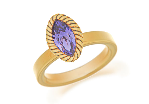 Sterling Silver Yellow Gold Plated Elliptic Purple Crystal Stacking Ring