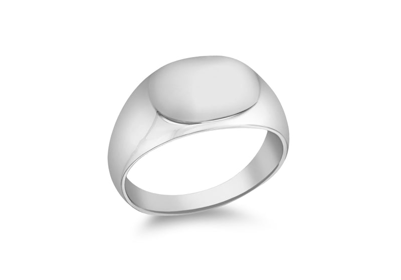 Sterling Silver Rhodium Plated 9.5mm x 11.5mm Oval Signet Ring