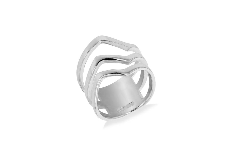 Sterling Silver Three Band Wavy Ring