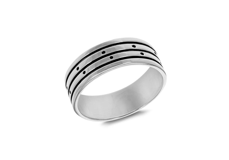 SILVER 3ROW OXID/POL BAND Ring