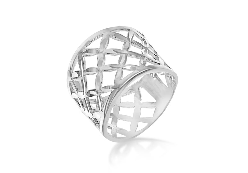 Sterling Silver Diamond Cut Lattice Ring