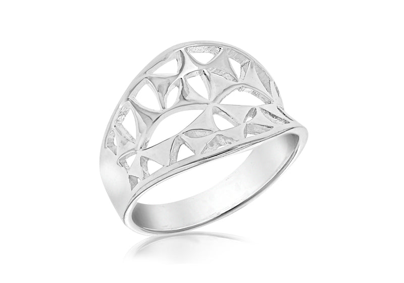 cSILVER CUT OUT CONCAVE RING