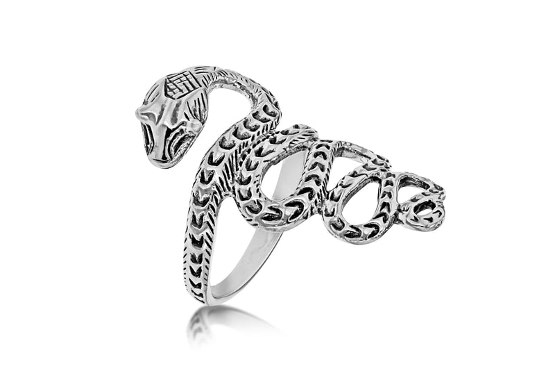Sterling Silver Oxidised  Snake Ring