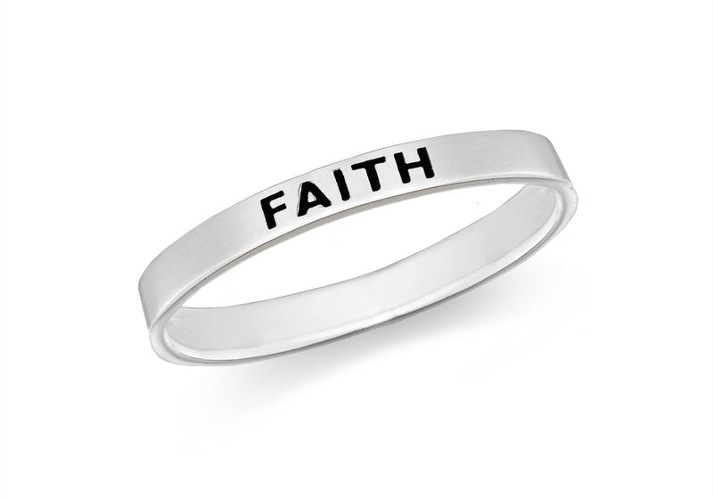 Sterling Silver 'Faith' Message Band Ring