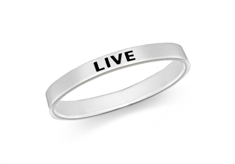 Sterling Silver 'Live' Message Band Ring
