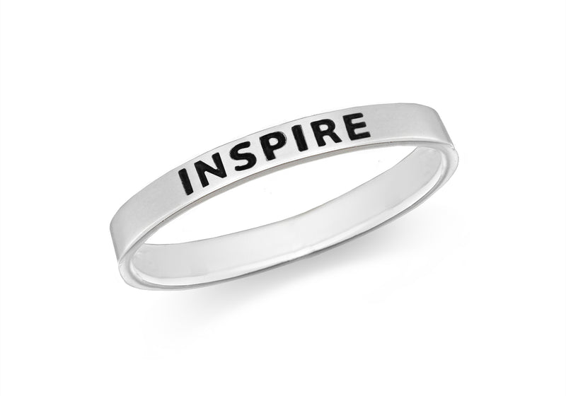 Sterling Silver 'Inspire' Message Band Ring