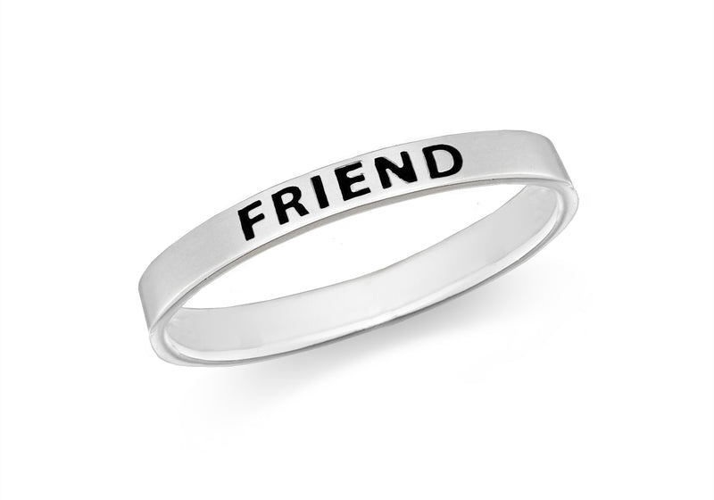 Sterling Silver 'Friend' Message Band Ring
