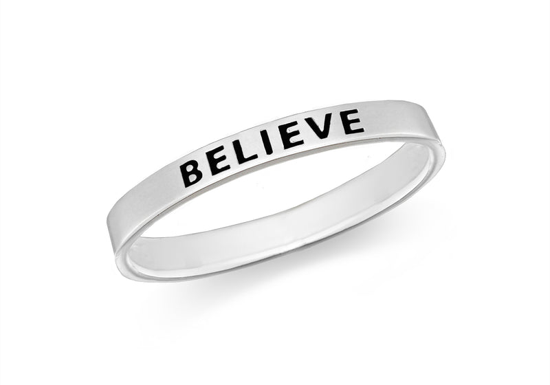 Sterling Silver 'Believe' Message Band Ring