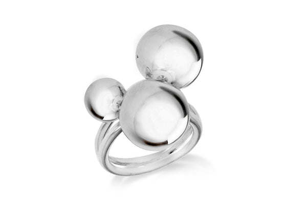 Sterling Silver Three Ball Ring