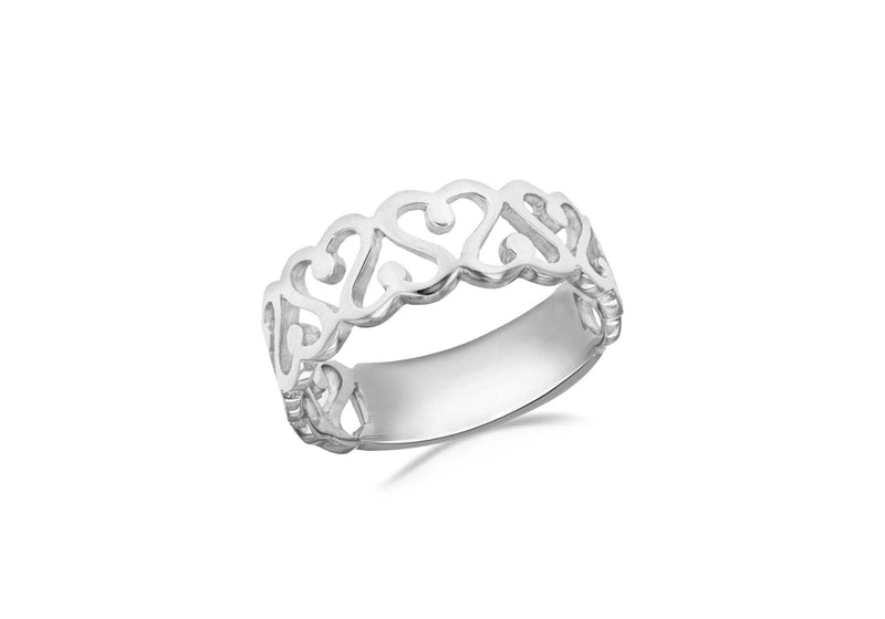Sterling Silver Rhodium Plated CutoCut Swirl Heart Ring
