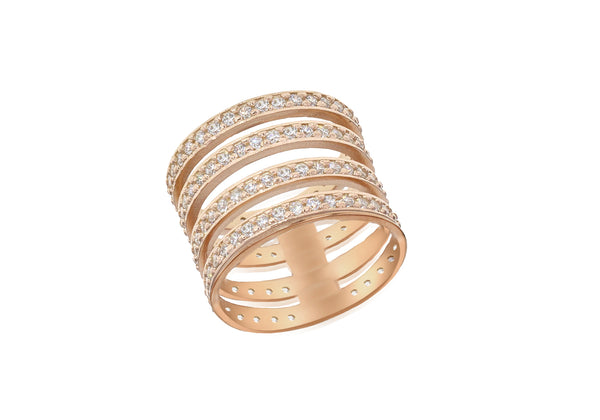Sterling Silver Rose Gold Plated Zirconia  Ladder Ring