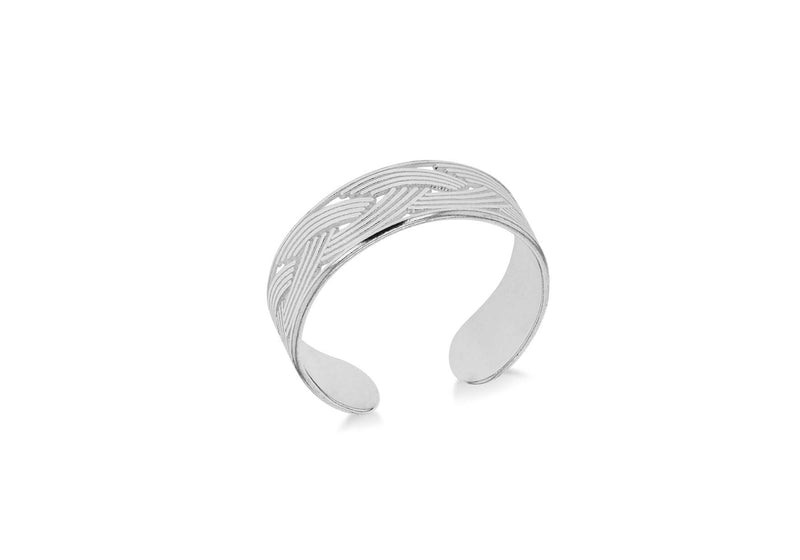 Sterling Silver Plaited Adjustable Open Toe Ring