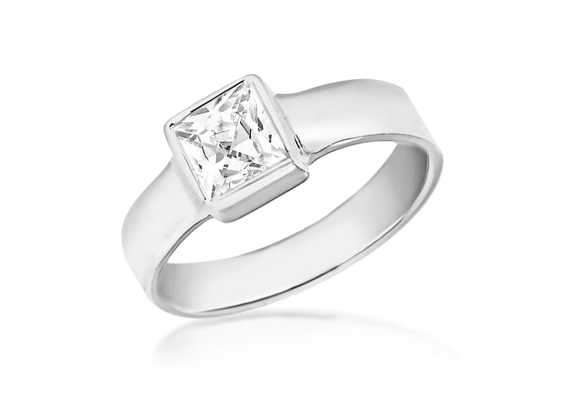 Sterling Silver Square Cut Zirconia Ring