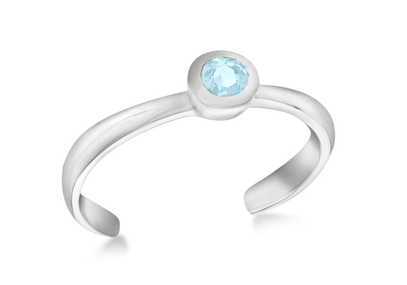 Sterling Silver Blue Cubic Zirconium Set Toe Ring