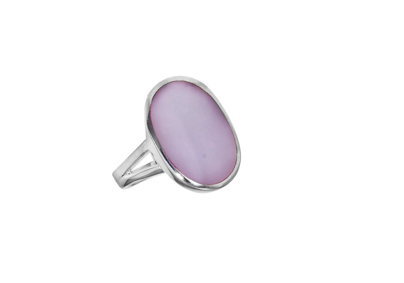 SILVER OVAL PINK MOP Ring