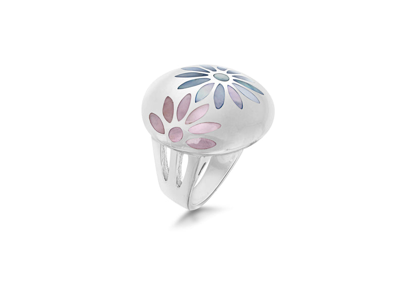 SILVER PINK/BLUE FLOWER Ring
