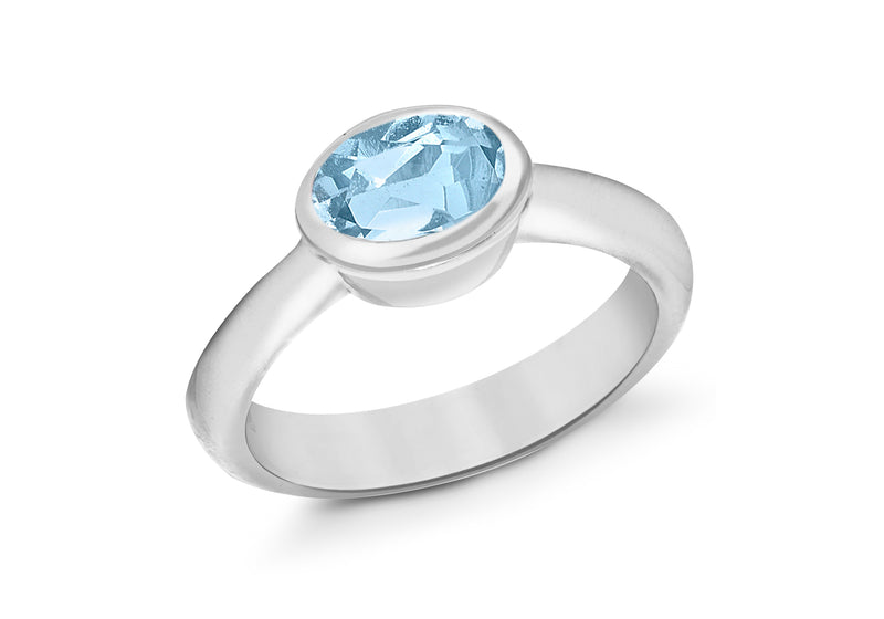 SILVER OVAL SKY BLUE Zirconia  Ring