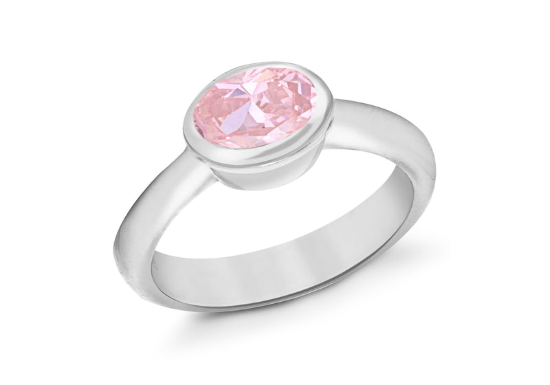 Sterling Silver Oval Pink Zirconia Ring