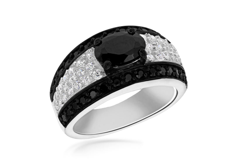 Sterling Silver Black & White Stone Set Oval Band Ring