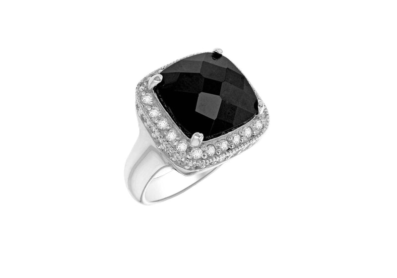 Sterling Silver Black & White Stone Set FacetedSquare Ring