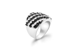 Sterling Silver Black & White Stone Set Stripe Ring