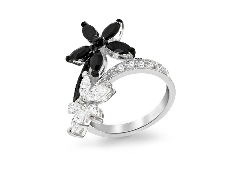 Sterling Silver Black & White Stone Set Double Flower Ring