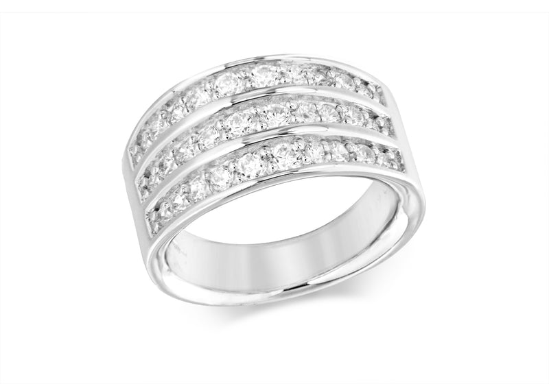 Sterling Silver Zirconia  3-Row Ring