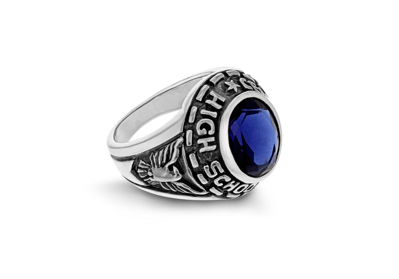 Sterling Silver Sapp Blue Stone Set ollege Ring