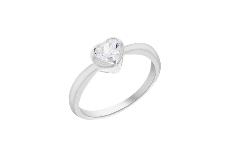 Sterling Silver White Heart Zirconia Ring