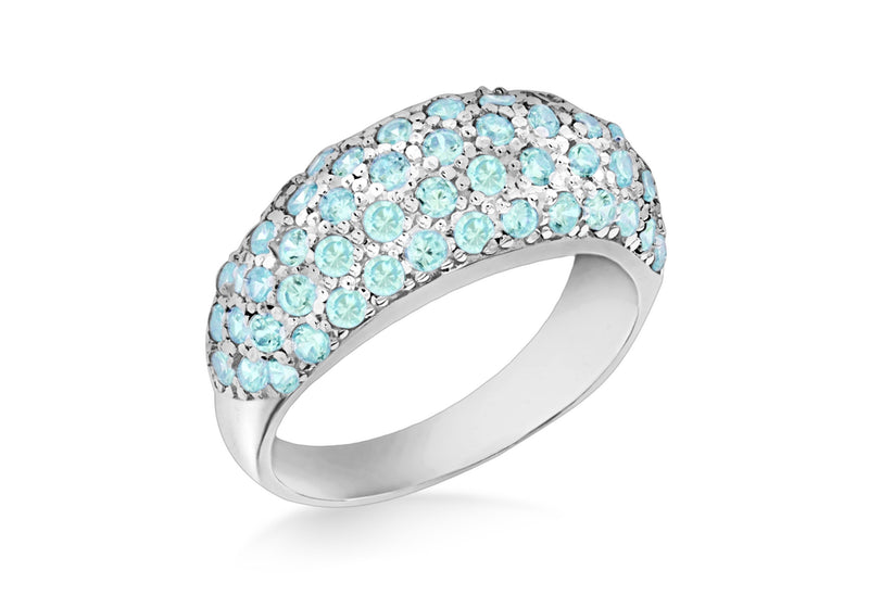Sterling Silver Dome Blue Zirconia  Stone Set Ring