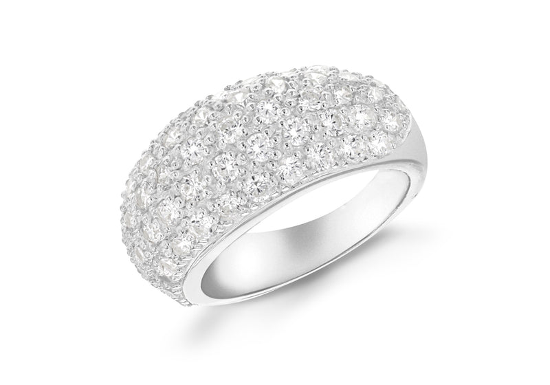 Sterling Silver Pave Dome White Zirconia  Stone Set Ring
