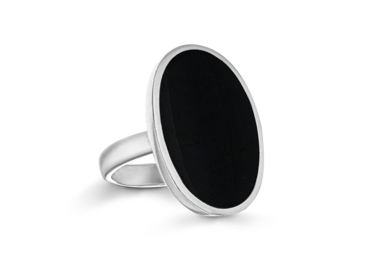 Sterling Silver Round Oval Onyx Set Ring