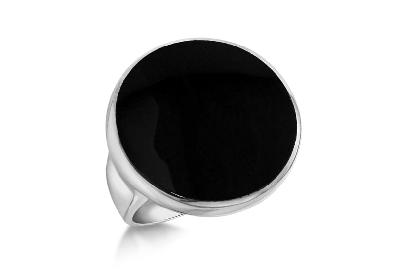 Sterling Silver Round Black Onyx Ring