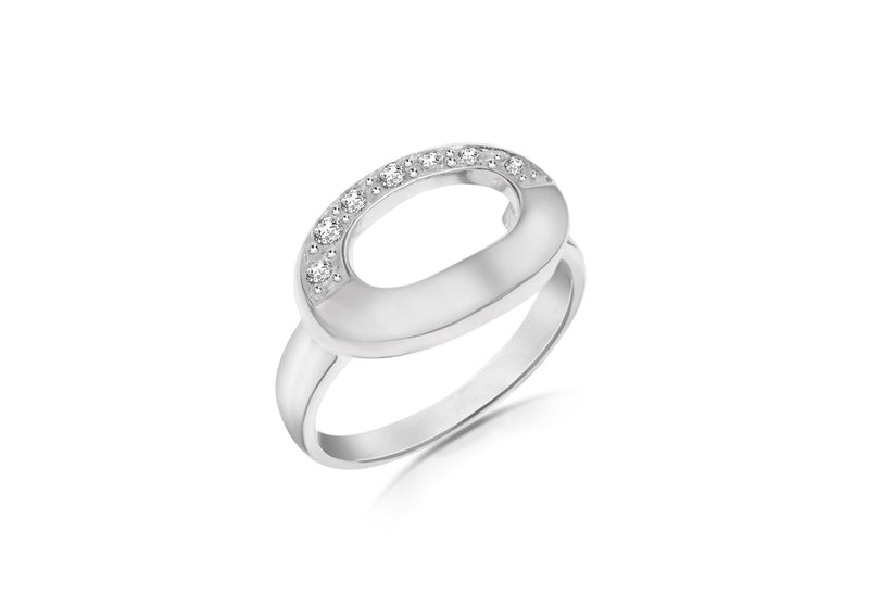 Sterling Silver White Zirconia  Set Polo Ring
