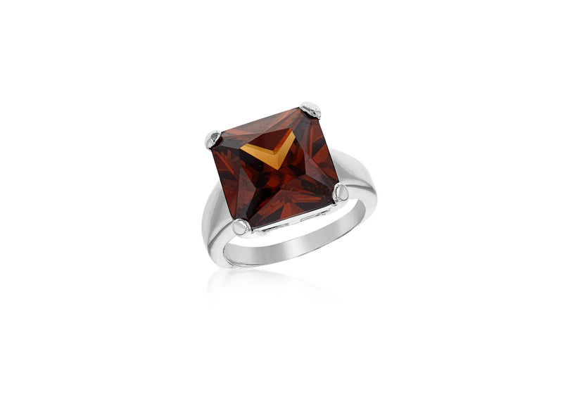 Sterling Silver Square Smokey Zirconia  Stone Ring