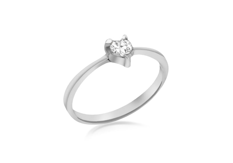 SILVER Zirconia  HEART Claw SET Ring