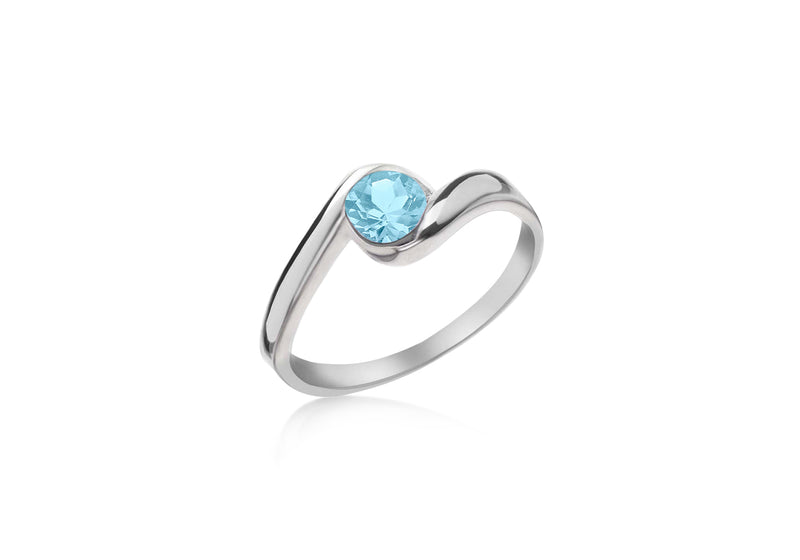 SILVER SKYBLUE Zirconia  /OVER Ring