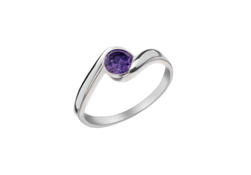 Sterling Silver Amy Zirconia  Stone Set Crossover Ring